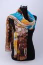 Sjaal met blauw ,geel,en bruin tinten