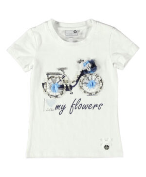 Le Chic Girls T-Shirt met korte mouw, Bike, wit