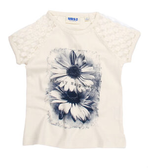 UBS2 Girls T-shirt Roomwit met kant en bloem