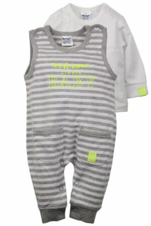 Dirkje Baby Set Welcome Grey/White streep