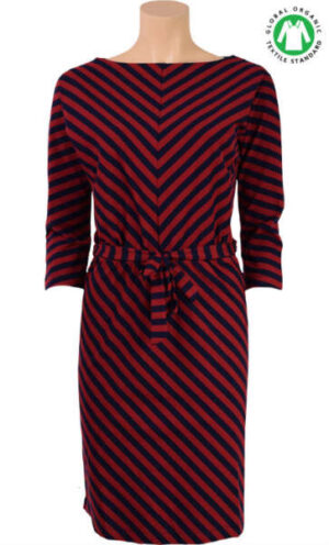 King Louie Missy Dress two tone stripe cherry red
