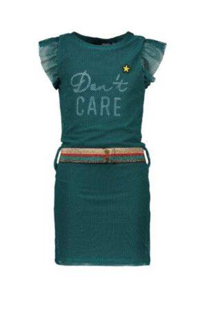 Like Flo meisjes mesh jurk turquoise F002-5885