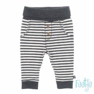 Feetje baby broek streep antraciet-wit