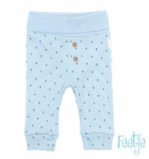 Feetje baby broekje blauw met patroon