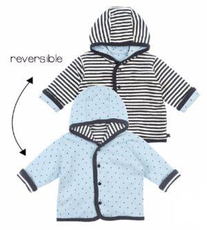 Feetje baby omkeerbaar jasje antraciet-blauw