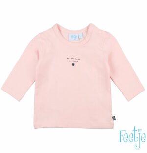 Feetje baby meisjes longsleeve I love you roze