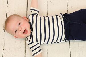 Ducky Beau baby t-shirt navy stripe