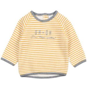Feetje baby sweater I am new here okergeel