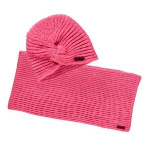 B.Nosy meisjes muts en sjaal shocking pink