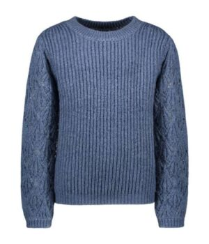 Like Flo meisjes knitted ajour sweater ice blue