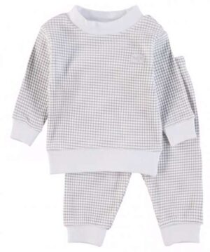 Feetje jongens wafel-pyjama grijs melange