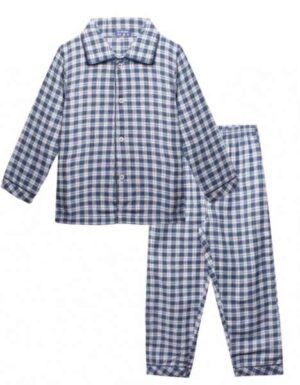 Claesen's jongens flannel pyjama ruit blauw