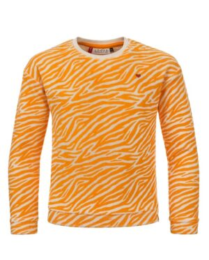 Badstof sweater Hippe Dropped shoulder fit. Sweater is lekker zacht. Loose-fit Leuke animal print in geel. Geborduurd hartje op de voorkant. Wasbaar binnenste buiten Katoen/elasthan