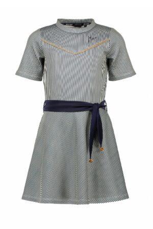 Nono meisjes jurk blauw gestreept N012-5801
