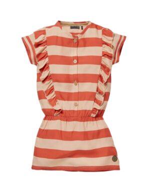 Levv meisjes jurk Nel steen rood-zand streep