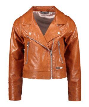Moodstreet leatherlook biker jack meisjes bruin