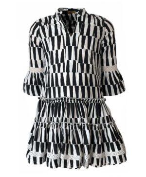 Topitm meisjes jurk Zita zwart-wit