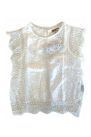 Topitm meisjes blouse Saar lace off-white